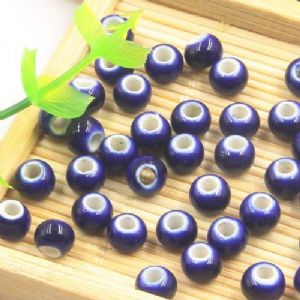 Beads, Porcelain, Dark blue , Round shape, 0.6cm x 0.6cm x 0.5cm, 10 Beads, [TCZ0022]